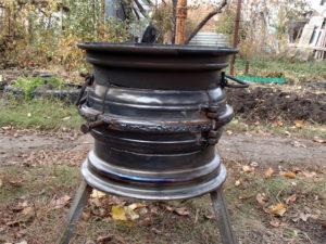 Как сделать печку из колесных дисков своими руками